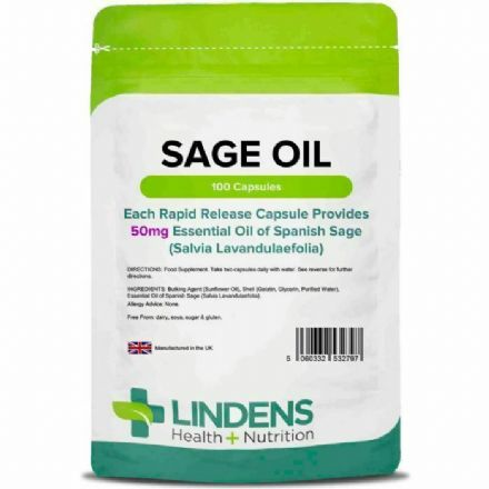 Sage Essential Oil 50mg x 100 Capsules; Lindens